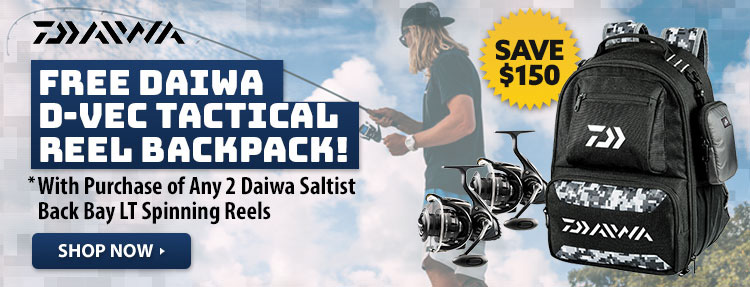 Free Daiwa D-Vec Tactical Reel Backpack with Purchase of Any 2 Daiwa Saltist Back Bay LT Spinning Reels - $99.99 Value! Shop Now!