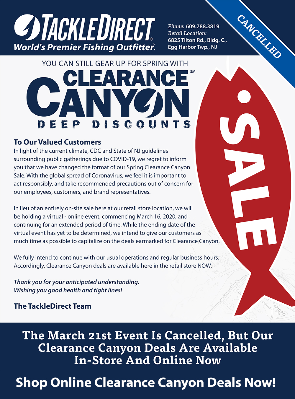 Virtual Clearance Canyon Sale at TackleDirect - Limited Time Only